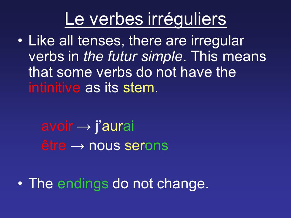 Le verbes irréguliers Like all tenses, there are irregular verbs in the futur simple.