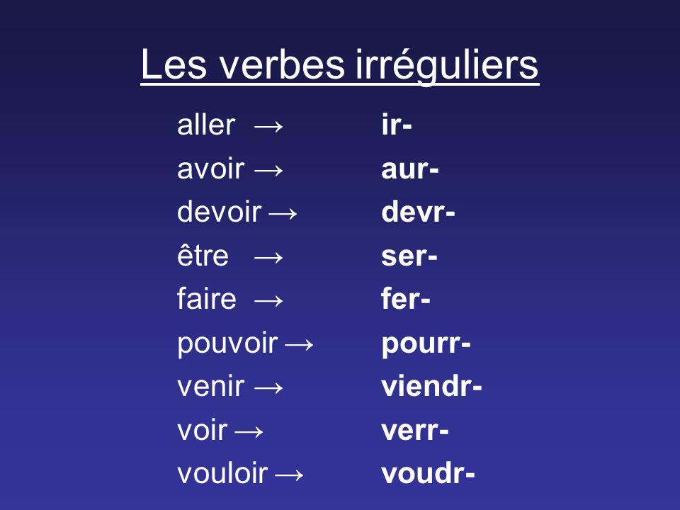 Les verbes irréguliers aller → ir- avoir →aur- devoir →devr- être →ser- faire →fer- pouvoir →pourr- venir →viendr- voir →verr- vouloir →voudr-