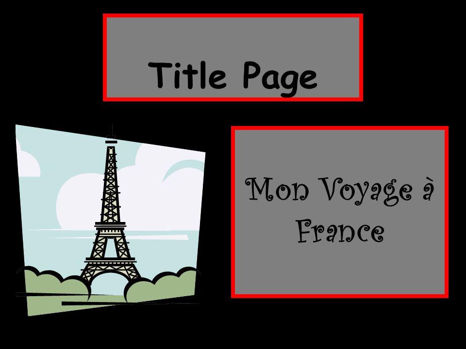 Mon Voyage à France Title Page