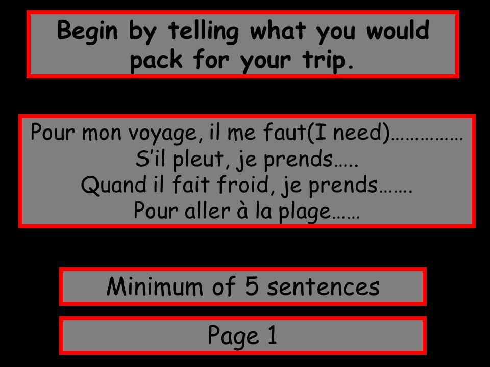 Begin by telling what you would pack for your trip. Page 1 Minimum of 5 sentences Pour mon voyage, il me faut(I need)…………… S'il pleut, je prends….. Qu