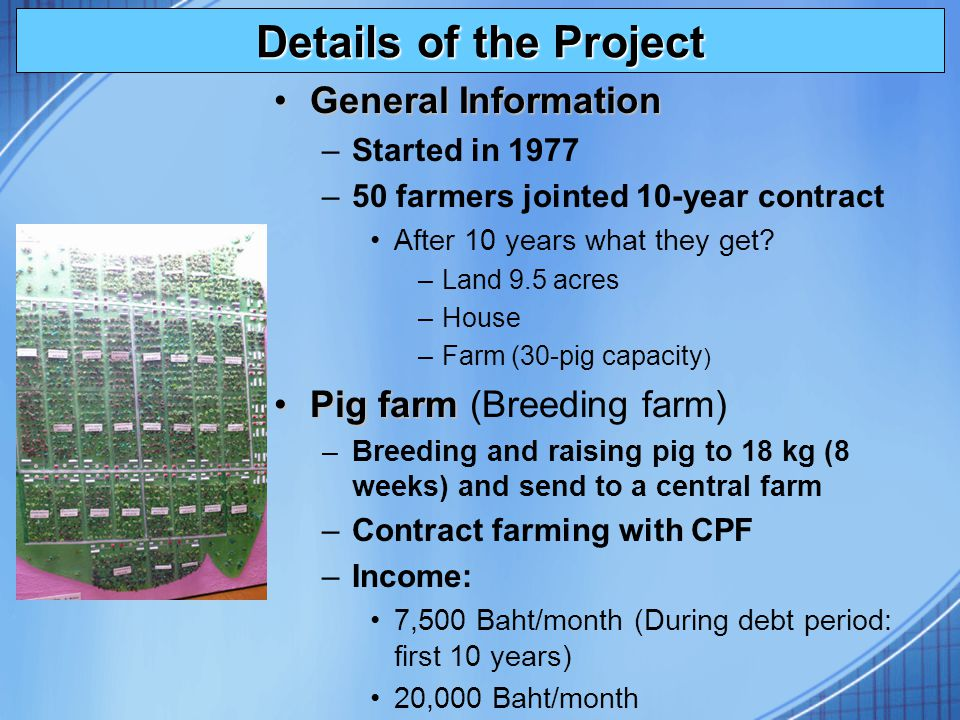 Details of the Project General InformationGeneral Information –Started in 1977 –50 farmers jointed 10-year contract After 10 years what they get? –Lan