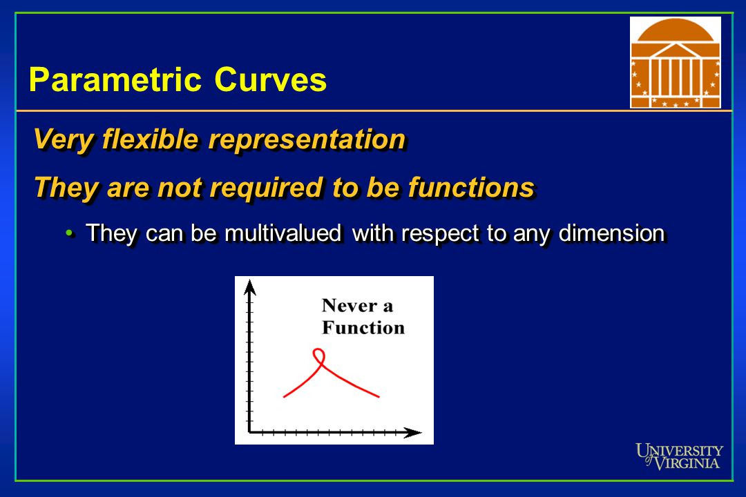 Parametric Curves Very flexible representation They are not required to be functions They can be multivalued with respect to any dimensionThey can be