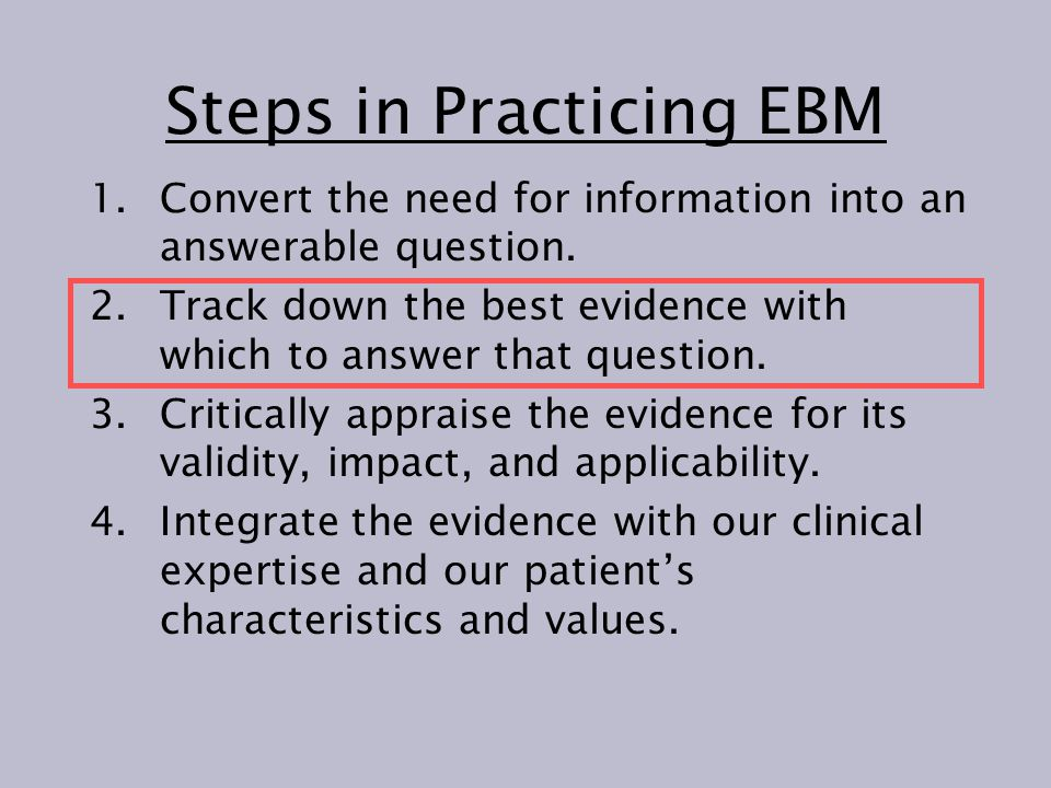Hierarchy of evidence Anecdotal case report Cross-sectional survey Case series without a control Case-control observational study Cohort study with a literature control Analyses using computer databases Cohort study with a historical control group Unconfirmed randomized controlled clinical trial Confirmed definitive randomized controlled clinical trials Systematic review of randomized controlled clinical trials