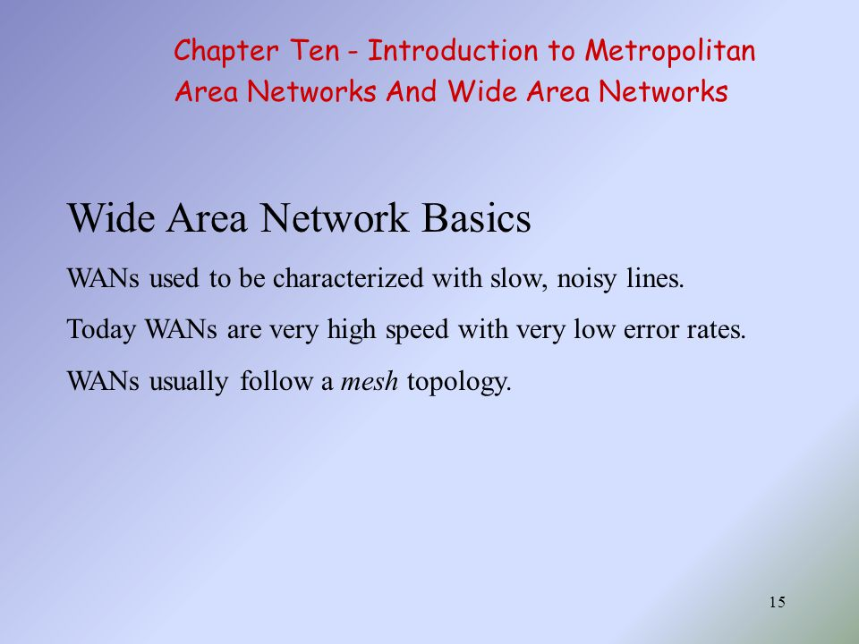 15 Wide Area Network Basics WANs used to be characterized with slow, noisy lines.