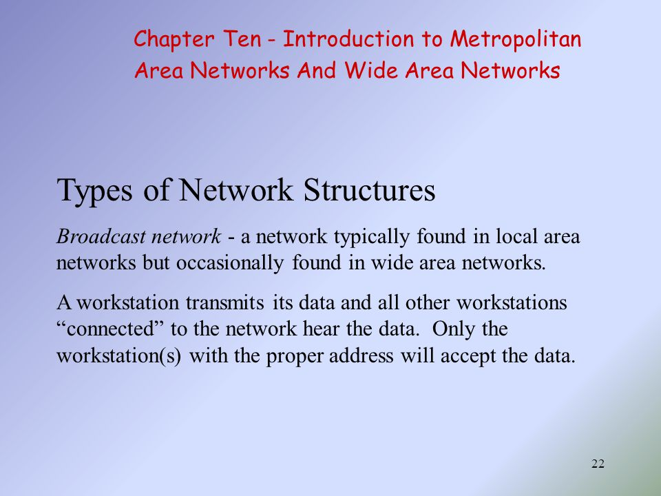 22 Types of Network Structures Broadcast network - a network typically found in local area networks but occasionally found in wide area networks.