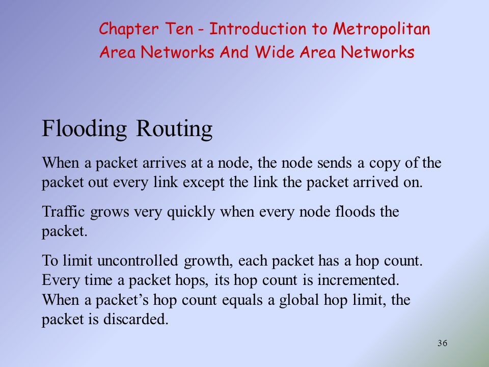 36 Flooding Routing When a packet arrives at a node, the node sends a copy of the packet out every link except the link the packet arrived on.