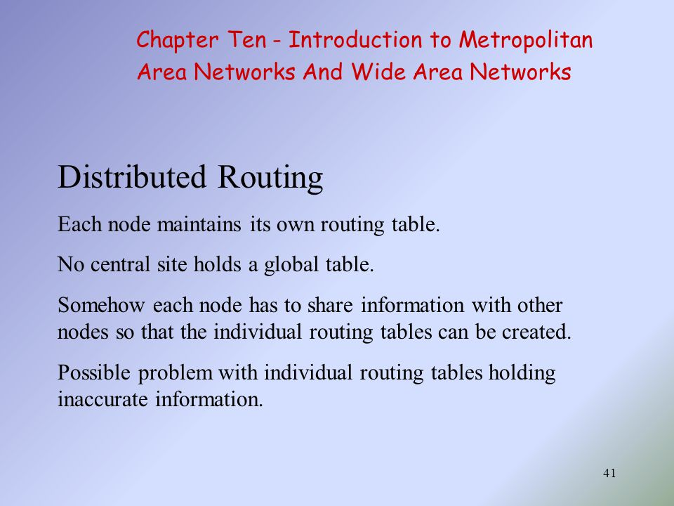 41 Distributed Routing Each node maintains its own routing table.