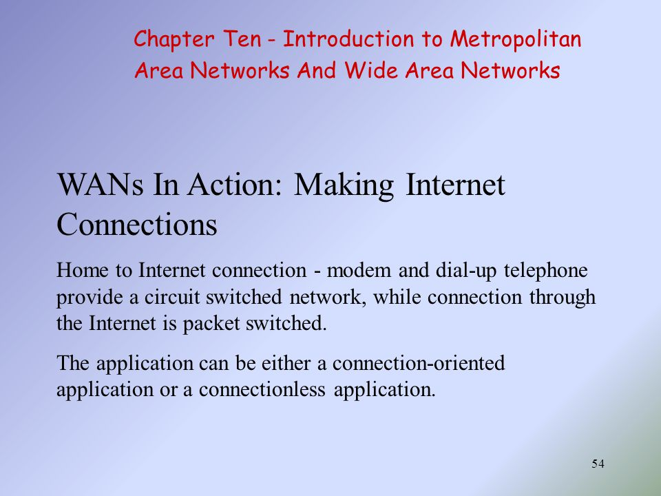 54 WANs In Action: Making Internet Connections Home to Internet connection - modem and dial-up telephone provide a circuit switched network, while connection through the Internet is packet switched.