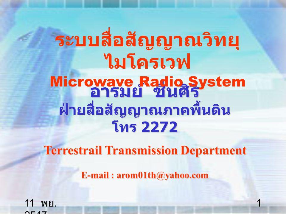 11 พย. 2547 62 Free Space Optical (Application)