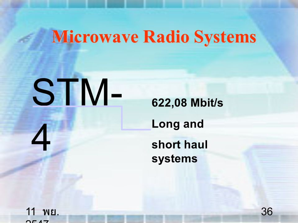 11 พย. 2547 36 Microwave Radio Systems STM- 4 622,08 Mbit/s Long and short haul systems