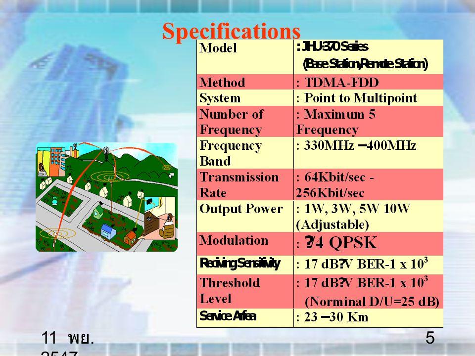 11 พย. 2547 36 Microwave Radio Systems STM- 4 622,08 Mbit/s Long and short haul systems