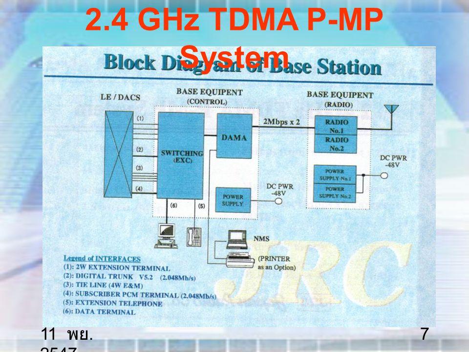 11 พย. 2547 8 2.4 GHz TDMA P-MP System