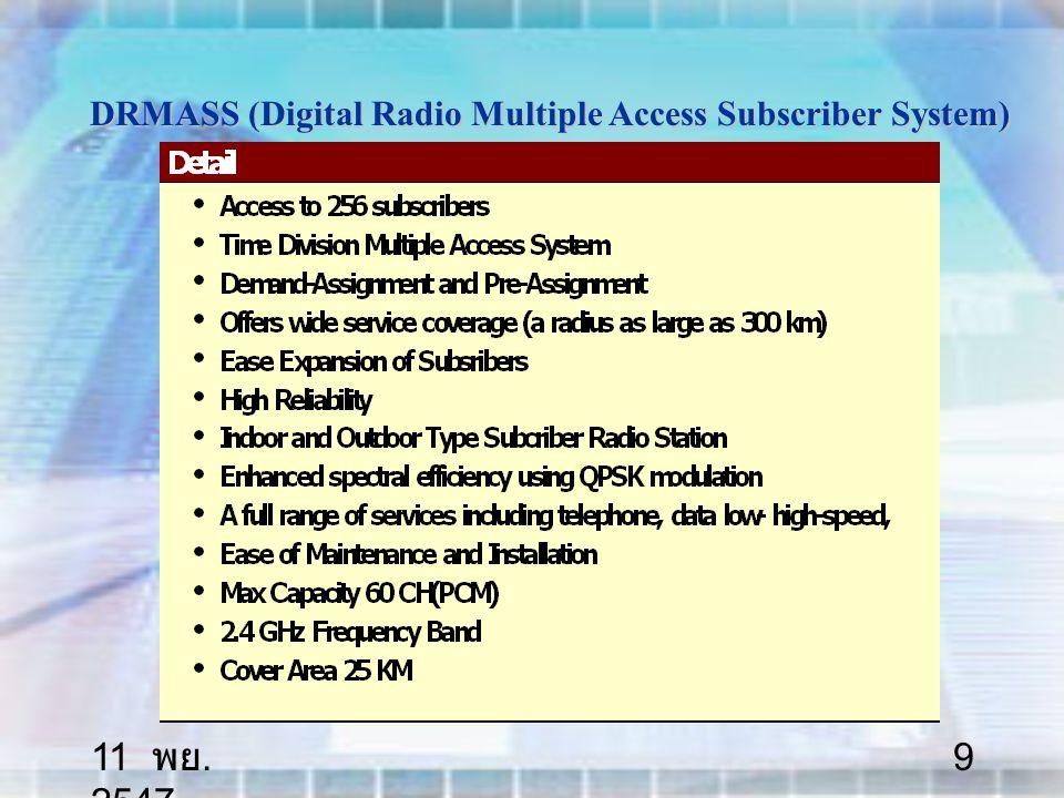 11 พย. 2547 50 Frequency Bands Available for Satellite Communications