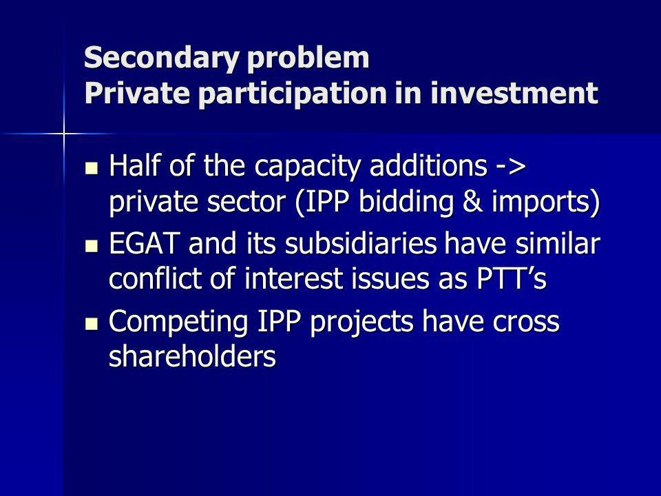 Secondary problem Private participation in investment Half of the capacity additions -> private sector (IPP bidding & imports) Half of the capacity additions -> private sector (IPP bidding & imports) EGAT and its subsidiaries have similar conflict of interest issues as PTT's EGAT and its subsidiaries have similar conflict of interest issues as PTT's Competing IPP projects have cross shareholders Competing IPP projects have cross shareholders