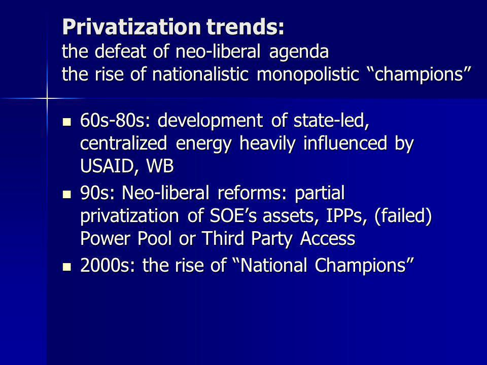 Privatization trends: the defeat of neo-liberal agenda the rise of nationalistic monopolistic champions 60s-80s: development of state-led, centralized energy heavily influenced by USAID, WB 60s-80s: development of state-led, centralized energy heavily influenced by USAID, WB 90s: Neo-liberal reforms: partial privatization of SOE's assets, IPPs, (failed) Power Pool or Third Party Access 90s: Neo-liberal reforms: partial privatization of SOE's assets, IPPs, (failed) Power Pool or Third Party Access 2000s: the rise of National Champions 2000s: the rise of National Champions
