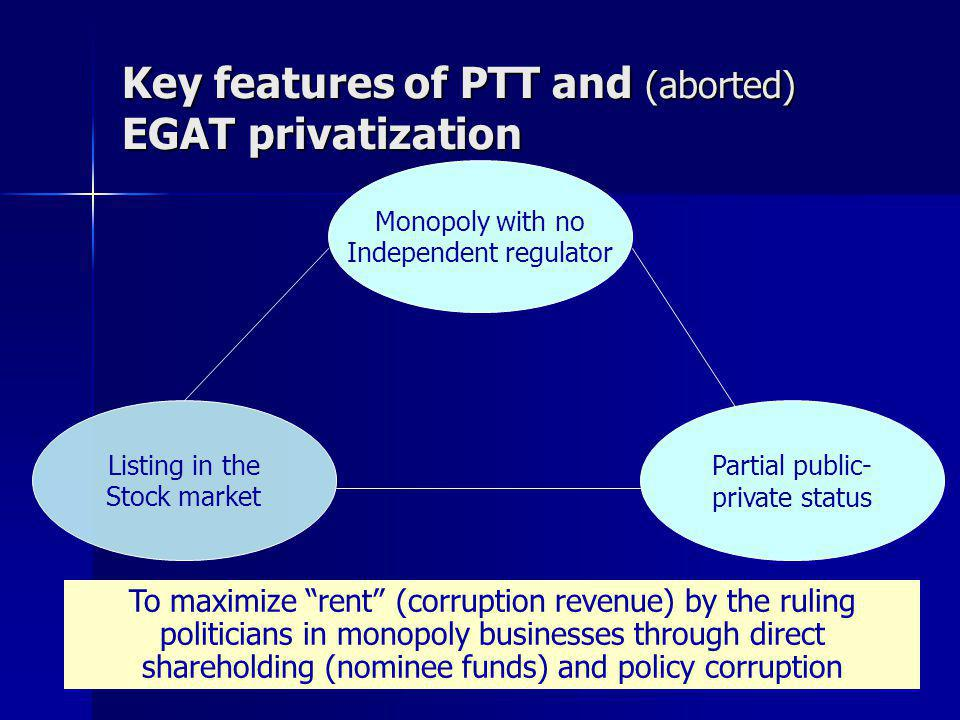 Key features of PTT and (aborted) EGAT privatization Monopoly with no Independent regulator Listing in the Stock market Partial public- private status To maximize rent (corruption revenue) by the ruling politicians in monopoly businesses through direct shareholding (nominee funds) and policy corruption