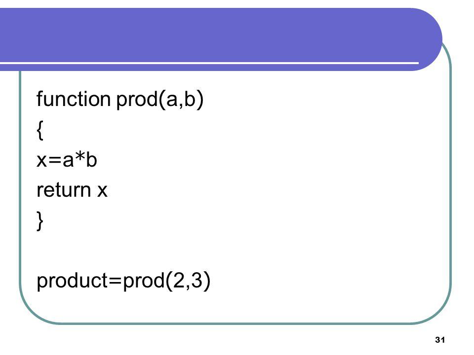 31 function prod(a,b) { x=a*b return x } product=prod(2,3)