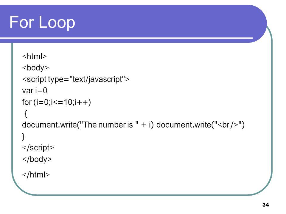 34 For Loop var i=0 for (i=0;i<=10;i++) { document.write( The number is + i) document.write( ) }