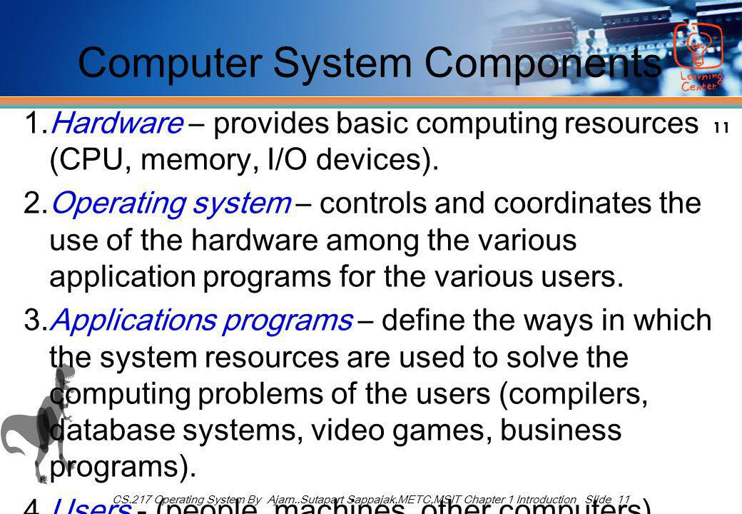 11 CS.217 Operating System By Ajarn..Sutapart Sappajak,METC,MSIT Chapter 1 Introduction Slide 11 Computer System Components 1.Hardware – provides basic computing resources (CPU, memory, I/O devices).