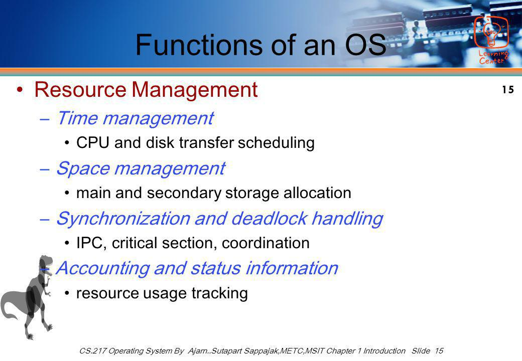 15 CS.217 Operating System By Ajarn..Sutapart Sappajak,METC,MSIT Chapter 1 Introduction Slide 15 Functions of an OS Resource Management –Time management CPU and disk transfer scheduling –Space management main and secondary storage allocation –Synchronization and deadlock handling IPC, critical section, coordination –Accounting and status information resource usage tracking