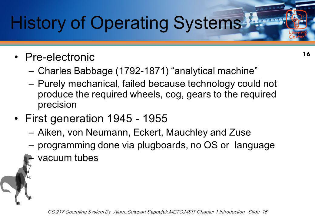 16 CS.217 Operating System By Ajarn..Sutapart Sappajak,METC,MSIT Chapter 1 Introduction Slide 16 History of Operating Systems Pre-electronic –Charles