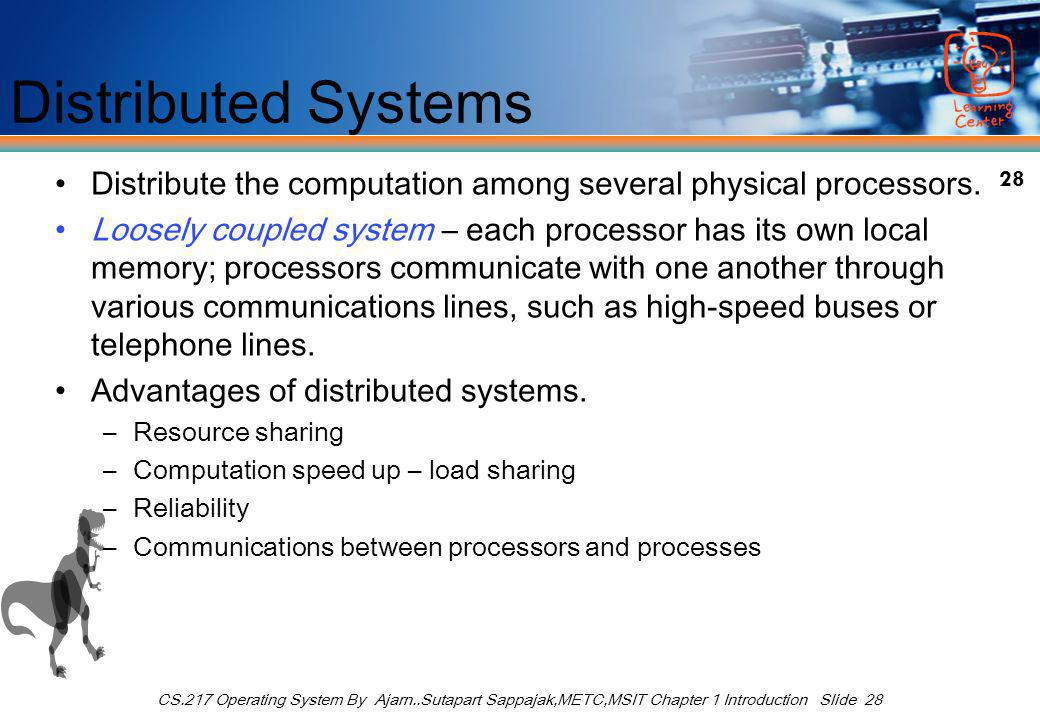 28 CS.217 Operating System By Ajarn..Sutapart Sappajak,METC,MSIT Chapter 1 Introduction Slide 28 Distributed Systems Distribute the computation among several physical processors.