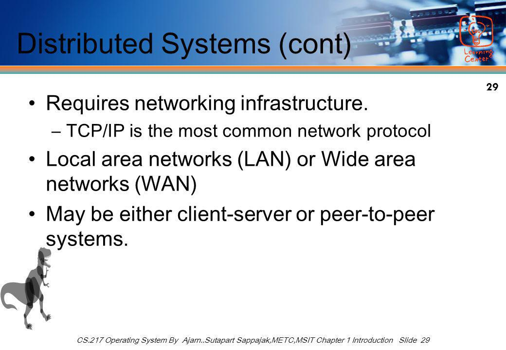 29 CS.217 Operating System By Ajarn..Sutapart Sappajak,METC,MSIT Chapter 1 Introduction Slide 29 Distributed Systems (cont) Requires networking infrastructure.