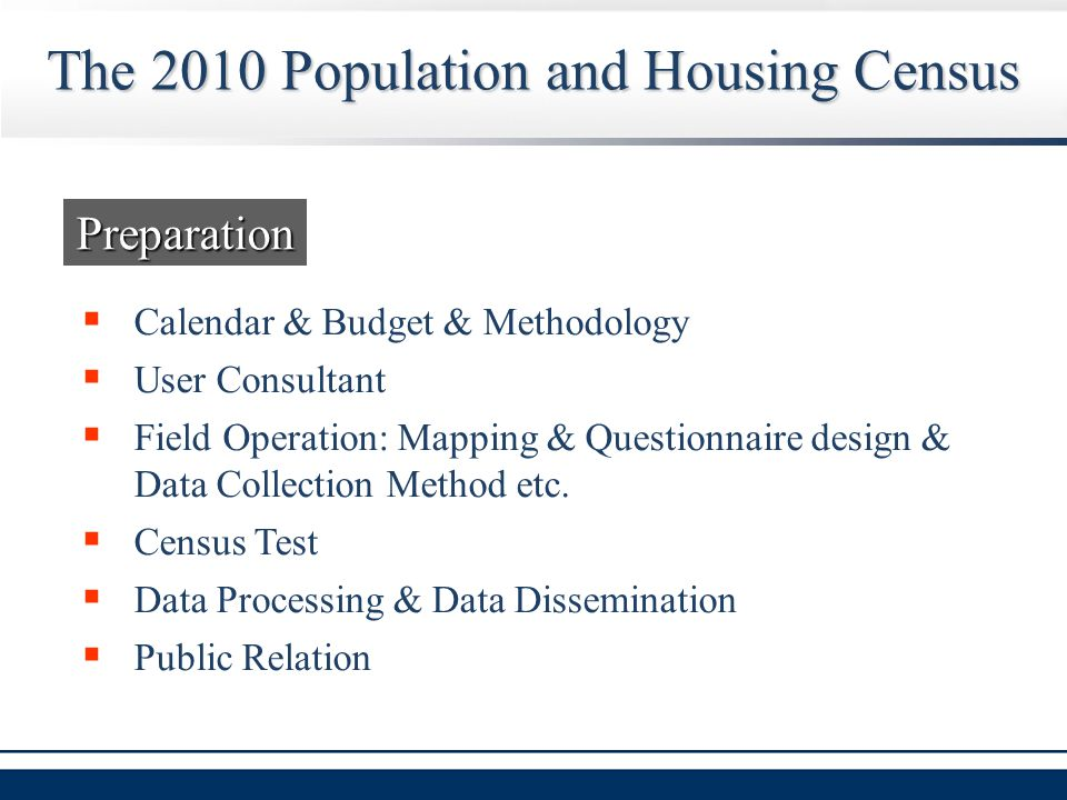  Calendar & Budget & Methodology  User Consultant  Field Operation: Mapping & Questionnaire design & Data Collection Method etc.  Census Test  Da