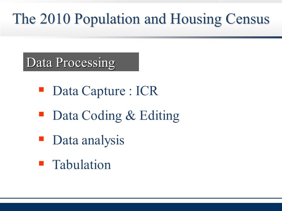 The 2010 Population and Housing Census  Data Capture : ICR  Data Coding & Editing  Data analysis  Tabulation Data Processing
