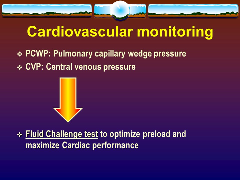 Cardiovascular monitoring  PCWP: Pulmonary capillary wedge pressure  CVP: Central venous pressure  Fluid Challenge test  Fluid Challenge test to o
