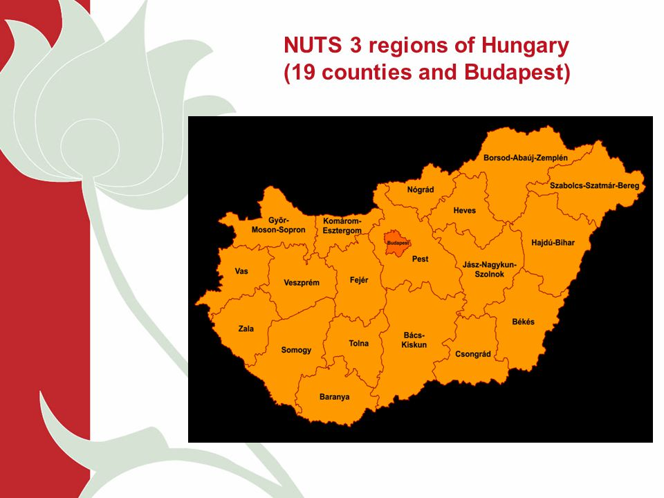 NUTS 3 regions of Hungary (19 counties and Budapest)