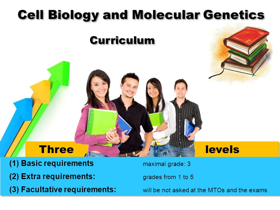Three levels (1) Basic requirements maximal grade: 3 (2) Extra requirements: grades from 1 to 5 (3) Facultative requirements: will be not asked at the MTOs and the exams (1) Basic requirements maximal grade: 3 (2) Extra requirements: grades from 1 to 5 (3) Facultative requirements: will be not asked at the MTOs and the exams Curriculum Cell Biology and Molecular Genetics
