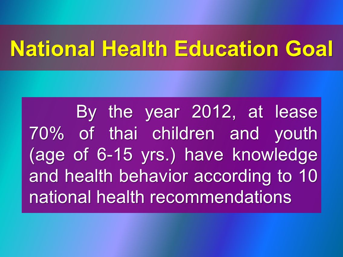 National Health Education Goal By the year 2012, at lease 70% of thai children and youth (age of 6-15 yrs.) have knowledge and health behavior according to 10 national health recommendations