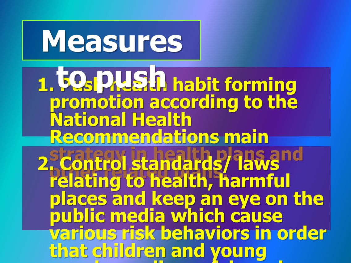 1. Push health habit forming promotion according to the National Health Recommendations main strategy in health plans and other related plans. Measure