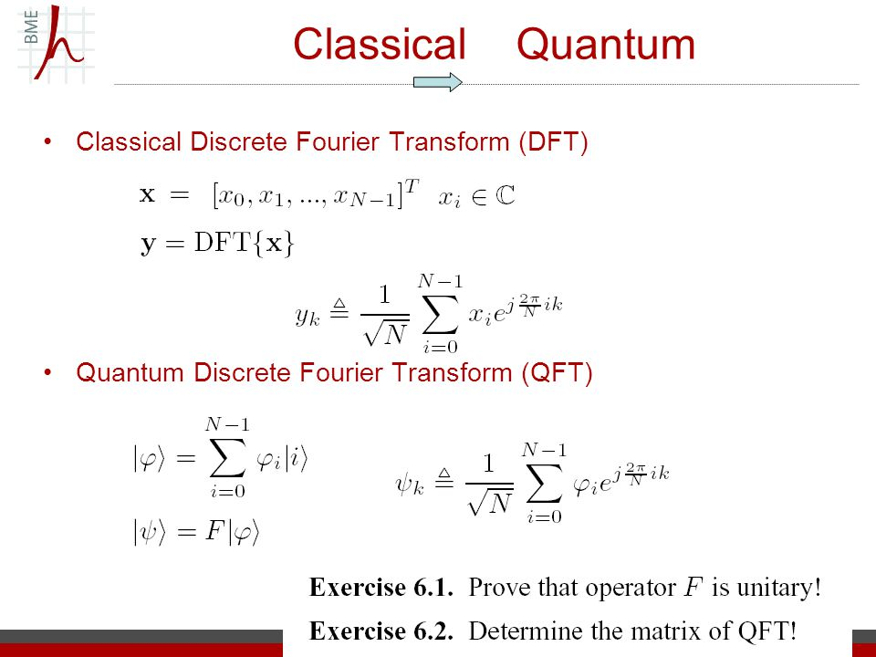 Classical Quantum Classical Discrete Fourier Transform (DFT) Quantum Discrete Fourier Transform (QFT)