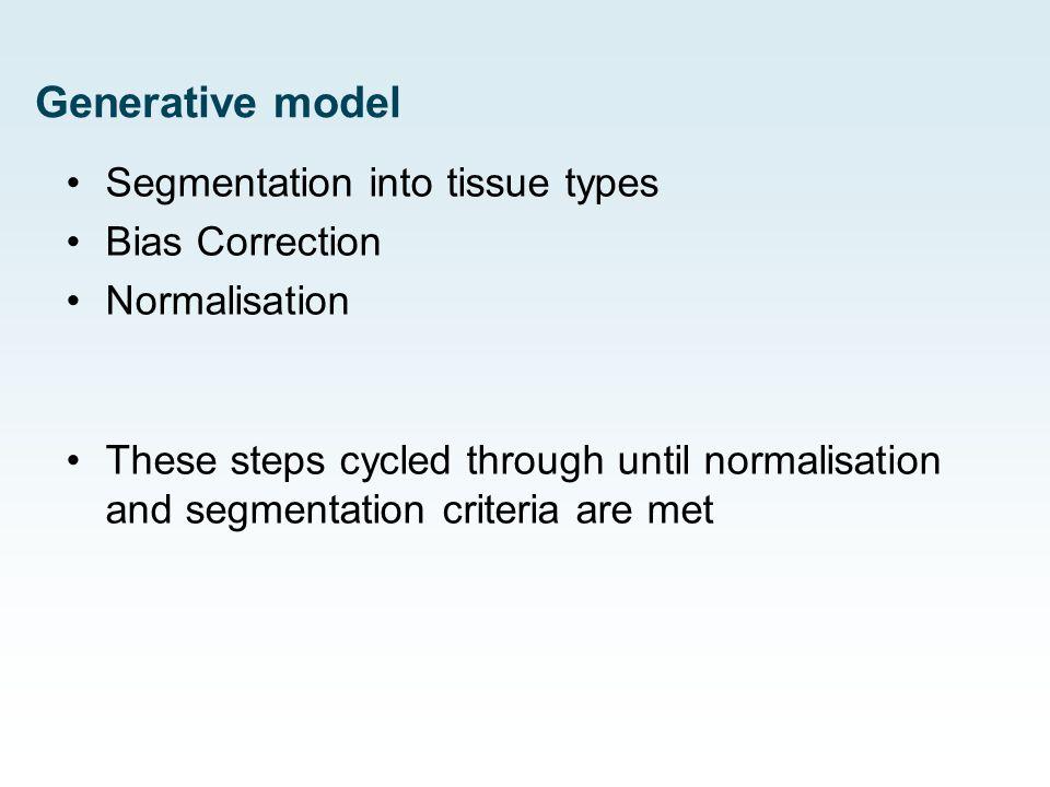 Generative model Segmentation into tissue types Bias Correction Normalisation These steps cycled through until normalisation and segmentation criteria