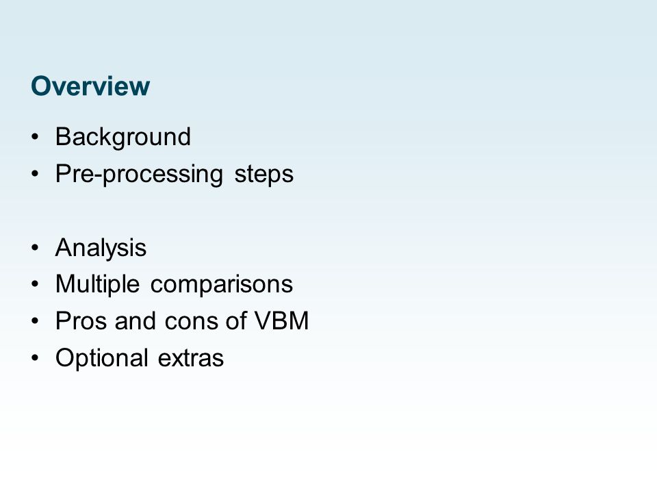 What is the question in VBM analysis.