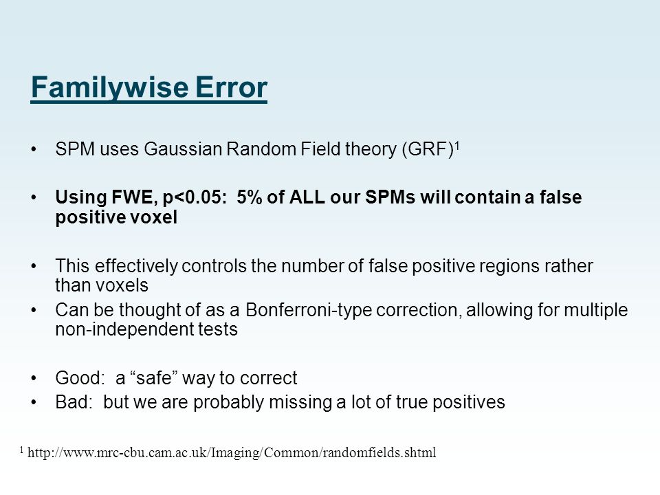 Familywise Error SPM uses Gaussian Random Field theory (GRF) 1 Using FWE, p<0.05: 5% of ALL our SPMs will contain a false positive voxel This effectiv
