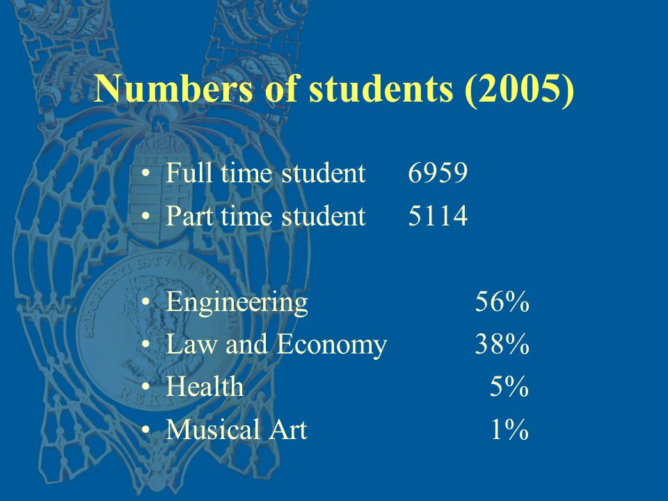 Numbers of students (2005) Full time student 6959 Part time student5114 Engineering56% Law and Economy 38% Health 5% Musical Art 1%