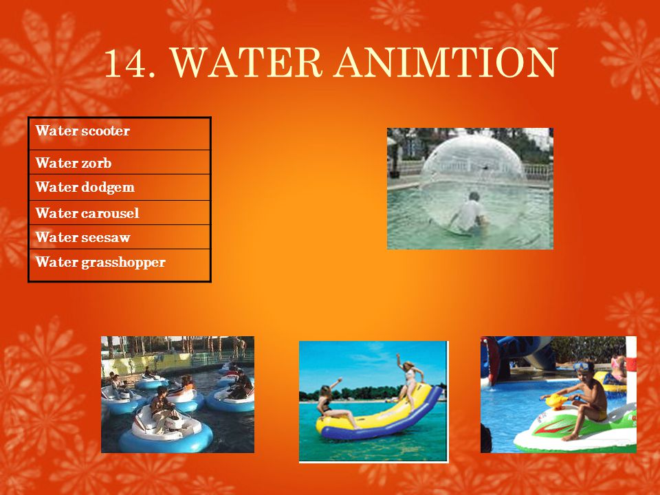 14. WATER ANIMTION Water scooter Water zorb Water dodgem Water carousel Water seesaw Water grasshopper