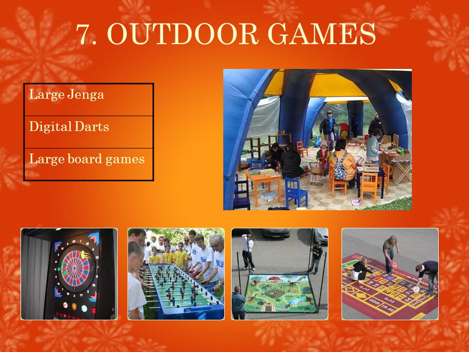 7. OUTDOOR GAMES Large Jenga Digital Darts Large board games