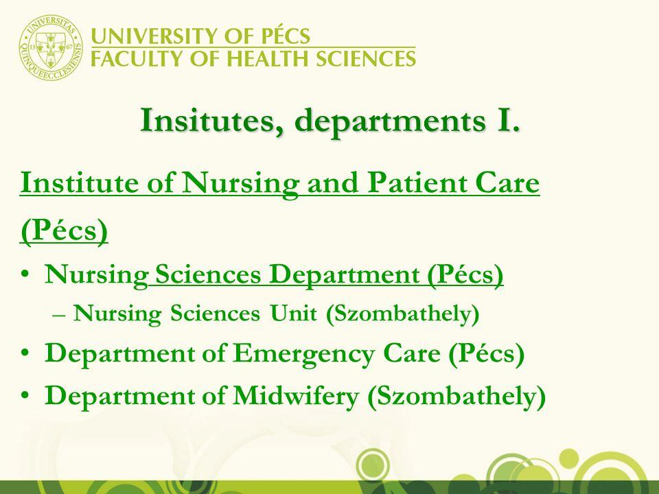 Insitutes, departments II.