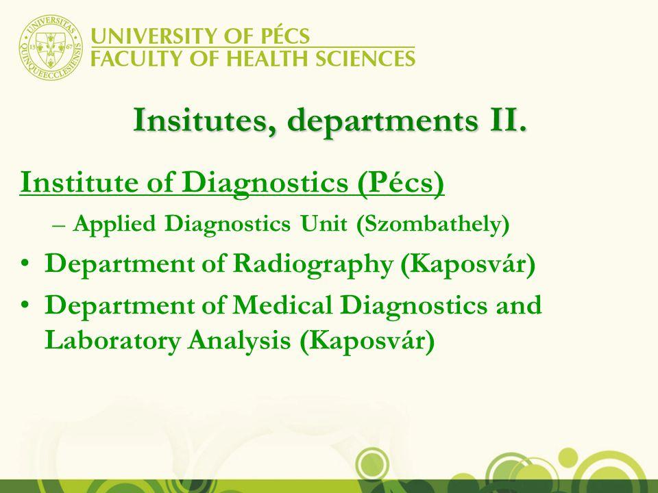 Insitutes, departments III.