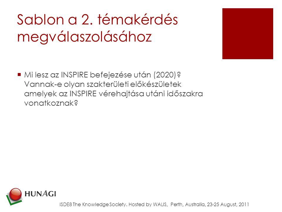 Sablon a 2.témakérdés megválaszolásához  Mi lesz az INSPIRE befejezése után (2020).