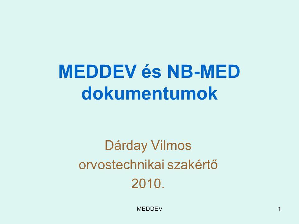 MEDDEV1 MEDDEV és NB-MED dokumentumok Dárday Vilmos orvostechnikai szakértő 2010.