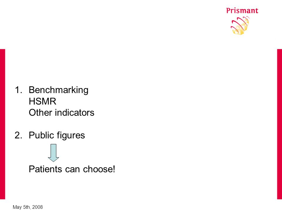 May 5th, Benchmarking HSMR Other indicators 2.Public figures Patients can choose!