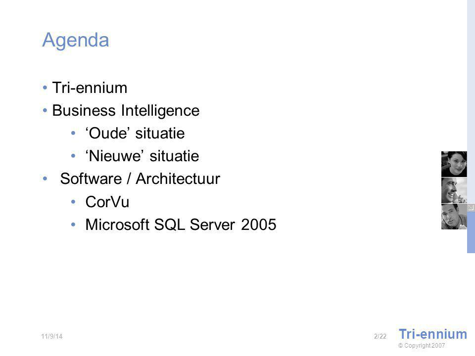 Agenda Tri-ennium Business Intelligence 'Oude' situatie 'Nieuwe' situatie Software / Architectuur CorVu Microsoft SQL Server 2005 Tri-ennium © Copyright /2211/9/14