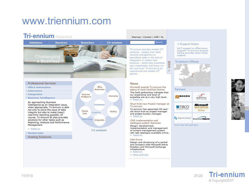 www.triennium.com Tri-ennium © Copyright 2007 21/2211/9/14