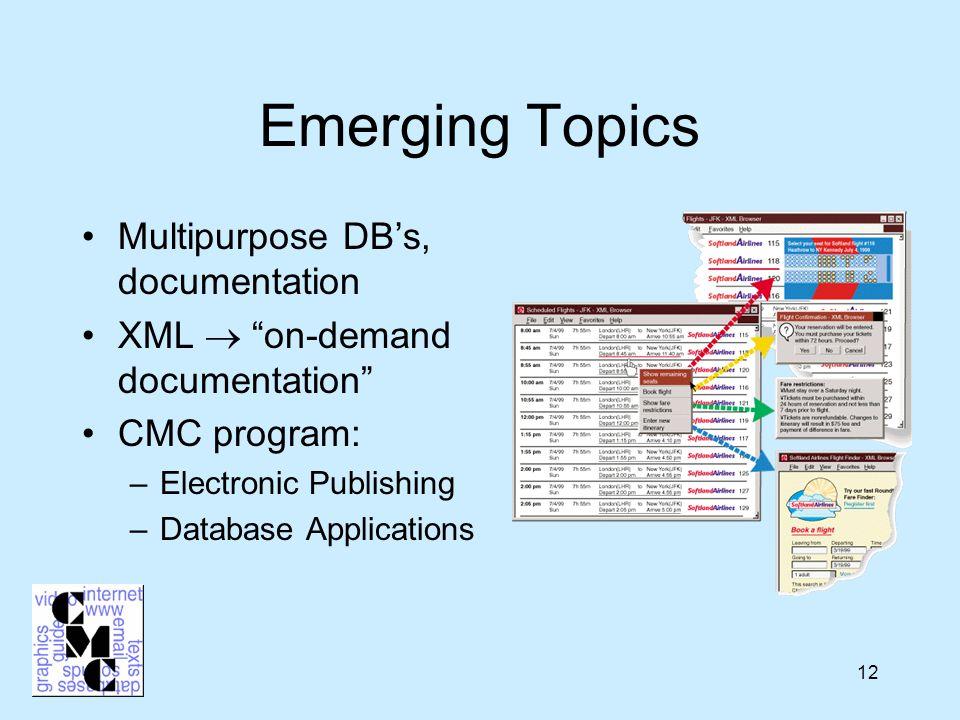 12 Emerging Topics Multipurpose DB's, documentation XML  on-demand documentation CMC program: –Electronic Publishing –Database Applications