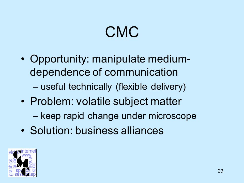 23 CMC Opportunity: manipulate medium- dependence of communication –useful technically (flexible delivery) Problem: volatile subject matter –keep rapid change under microscope Solution: business alliances